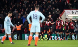 Joshua King celebrates his second, and Bournemouth's third goal as they brushed Chelsea aside.