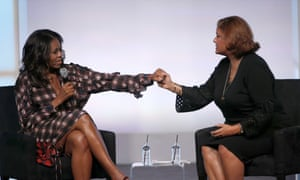 Michelle Obama appeared in conversation with poet Elizabeth Alexander on the second day of the Obama Foundation Summit