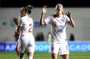 Toni Duggan reacts after a missed chance.