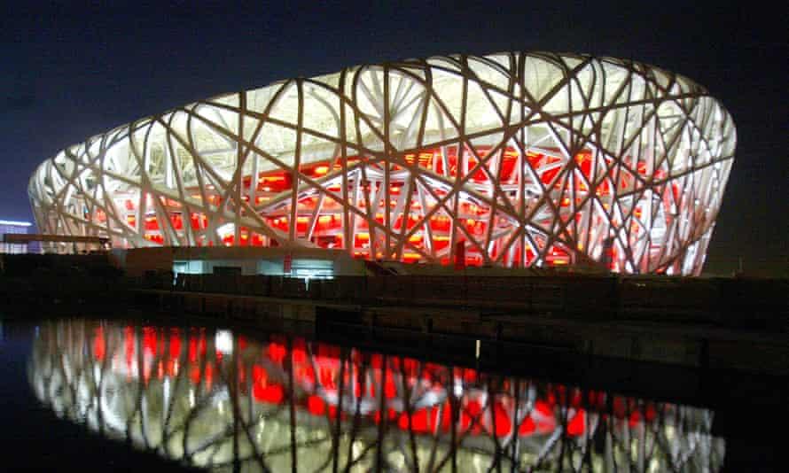 Beijing's National Stadium, nicknamed the Bird's Nest, undergoes lighting tests.