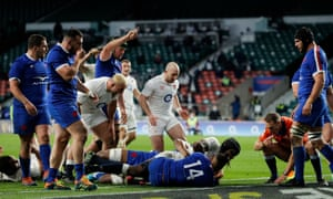 Maro Itoje of England goes over.