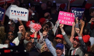 Supporters of Republican presidential nominee Donald Trump cheer during election night at the New York Hilton Midtown in New York