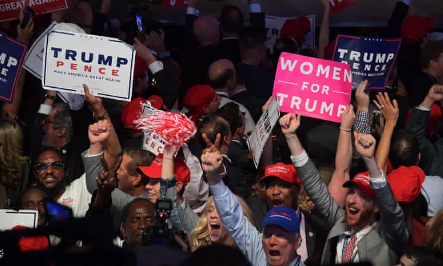 Trump supporters cheering the then Republican presidential nominee in 2016.