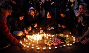Demonstrators outside Amirkabir University in Tehran lighting candles yesterday.