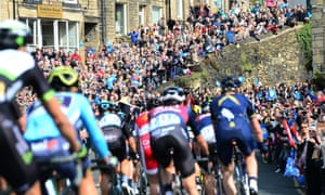 The Tour de Yorkshire cycling race taking place in Holmfirth, West Yorkshire