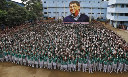 Indian schoolchildren mark the 60th birthday of Bill Gates in Chennai.