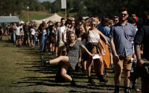 Punters arrive for the Splendour in the Grass music festival, just north of Byron Bay in New South Wales.
