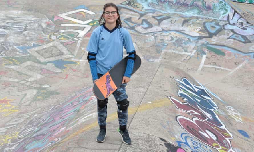 Bianca with skateboard
