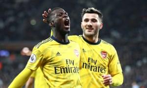 Pepe celebrates scoring Arsenal's second.