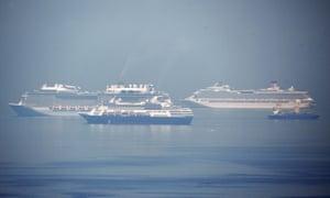 Cruise ships at anchor in Manila Bay on 27 May.