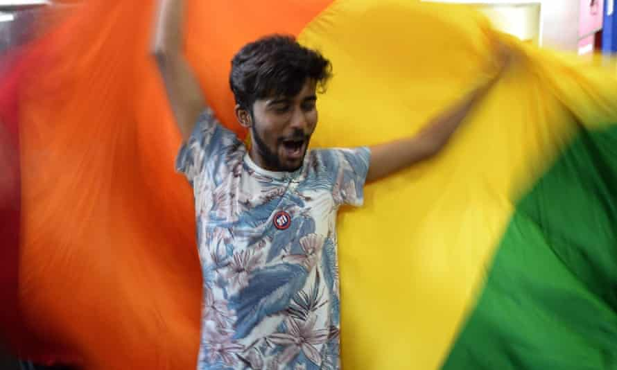 A gay rights activist celebrates India's supreme court ruling.