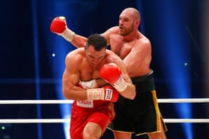 Round 11, Klitschko turns his back and Fury rabbit punches. The referee had warned Fury and deducted a point