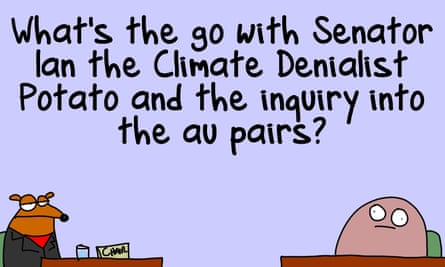 Cartoon frame of Ian the Climate Denialist Potato facing a political inquisitor.