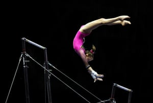Indianapolis, US. Baylie Belman competes in the uneven bars during the Nastia Liukin Cup at Indiana Convention Center