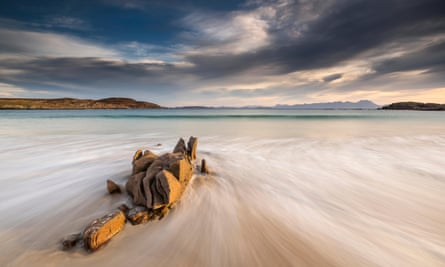 Mellon Udrigle at dawn with a view to the mountains beyond, Wester Ross, Highlands