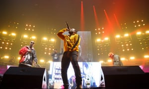 Inspectah Deck and Young Dirty Bastard of Wu-Tang Clan perform on stage at Wembley Arena.