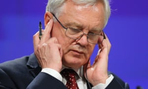 The UK Brexit secretary, David Davis, at a press conference during negotiations in Brussels.