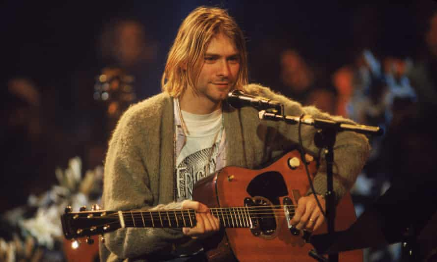 Kurt Cobain on MTV Unplugged in November 1993. The cardigan he was wearing has been sold for $334,000.