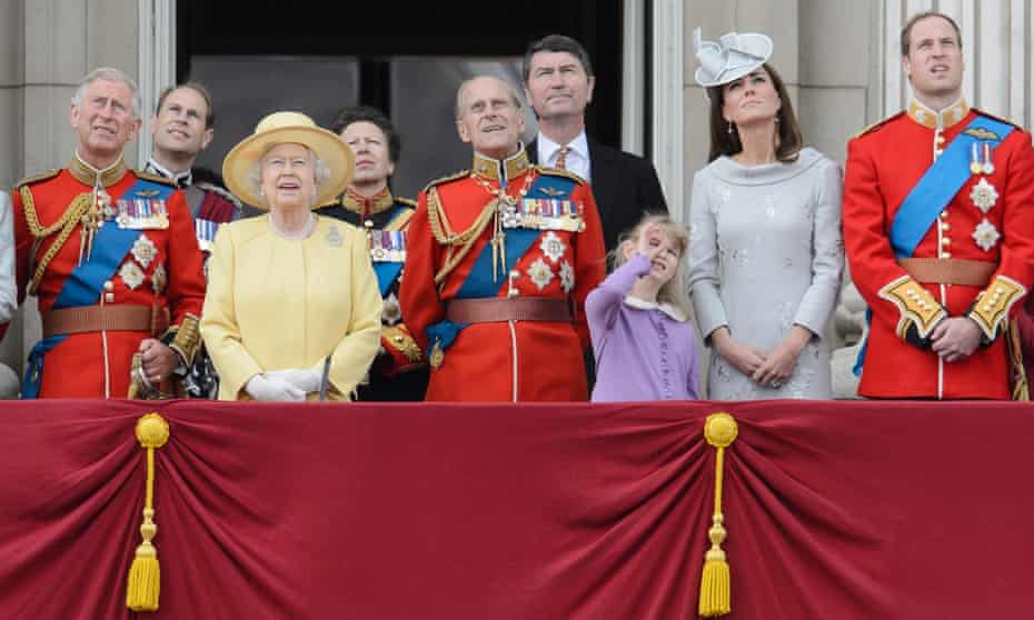 The Duke of Edinburgh and members of the royal family watch a fly-past from the balcony of Buckingham Palace following the Trooping of the Colour in 2012.