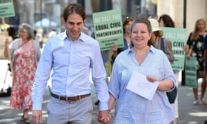 Rebecca Steinfeld and Charles Keidan outside the supreme court in London, where they won their fight for the right to enter into a civil partnership today.