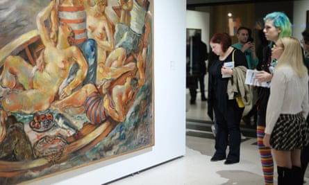 Visitor's look at a painting at Belgrade Museum of Contemporary Art.