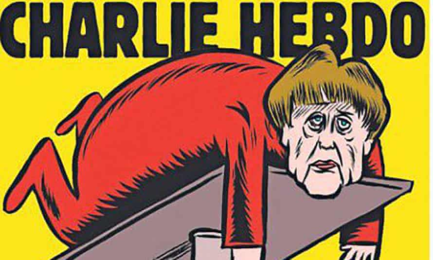 Cover image of Charlie Hebdo's first German edition, which launched on Thursday with an image of German chancellor Angela Merkel on a mechanic's hydraulic lift.