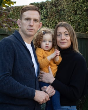 Alix Popham at home in Newport with his wife, Mel, and two-year-old daughter, Darcy