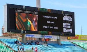 Scoreboard showing England's 241 run win over South Africa.