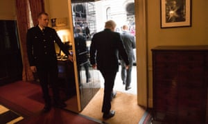 Boris Johnson leaving 10 Downing Street on the morning after the election