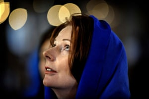 The then prime minister, Julia Gillard, visits the Blue Mosque in Turkey in April 2012.