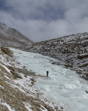 An artificial glacier in Ladakh, created by engineer and farmer Chewang Norphel.