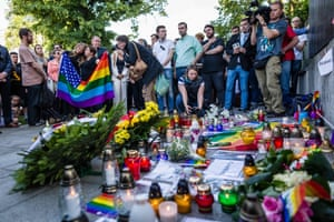 Warsaw, Poland People lays flowers and light candles to commemorate victims of a mass shooting at a gay nightclub in Orlando in front of the US embassy in Warsaw