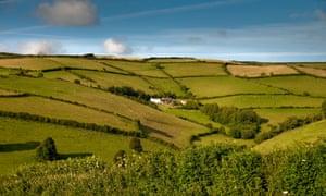 Patchwork fields near Combe Martin. Exmoor National Park. North Devon. England UK