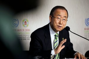 Ban Ki-moon at the UN climate talks in Marrakech, Morocco. 'What was once unthinkable has become unstoppable.'