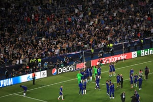 Chelsea players greet their fans.