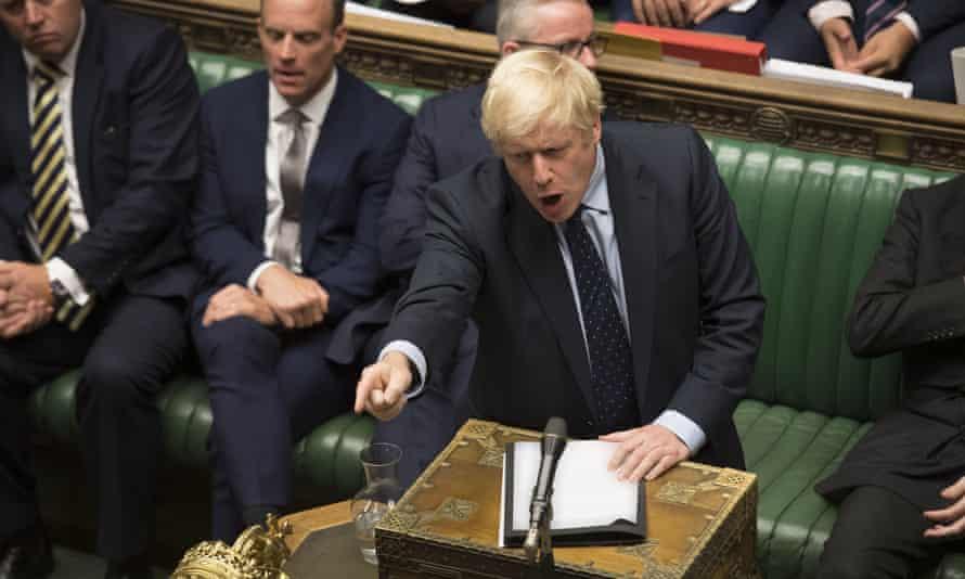 Boris Johnson speaks in the House of Commons on 3 September.