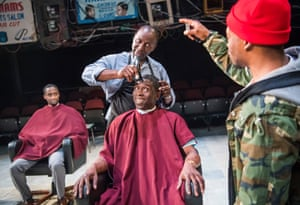 Peter Bankole, Cyril Nri, Abdul Salis and Fisayo Akinade in Barber Shop Chronicles.