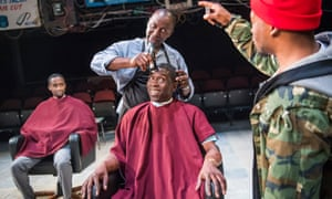 Peter Bankole, Cyril Nri, Abdul Salis and Fisayo Akinade in Barber Shop Chronicles by Inua Ellams.