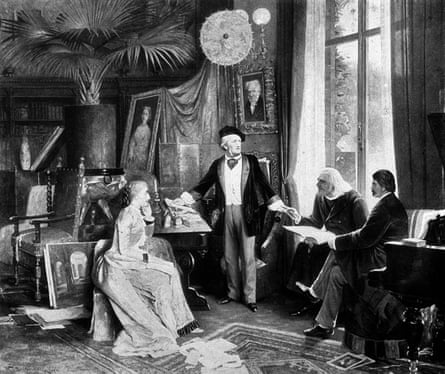 An illustration of Wagner with Franz Liszt, Cosima Wagner (Liszt's daughter and eventually Wagner's wife) and Moriz Rosenthal, a pupil of Liszt, in the Villa Wahnfried, Bayreuth.