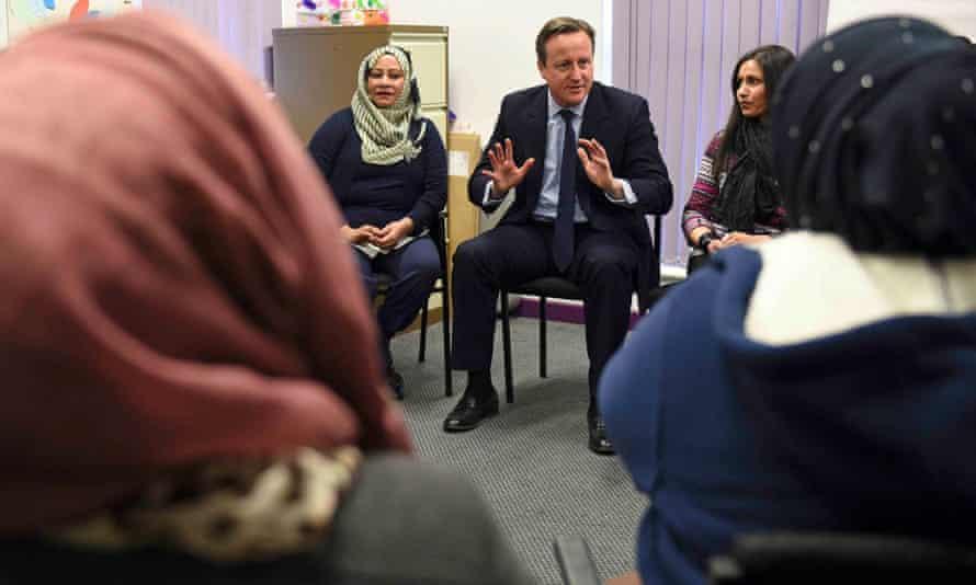 David Cameron with women attending an English language class in Leeds.