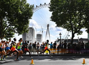 Yemane Tsegay of Ethiopia passes the London Eye during the men's Marathon race at the London 2017 IAAF World Championships