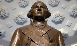 A bronze statue of George Washington in Alexandria, Virginia.