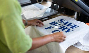 A T-shirt is prepared in Bury market last August before the club's expulsion from the Football League.