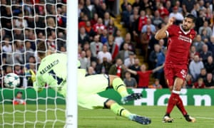 Emre Can scores his second, and Liverpool's third goal after just 21 minutes.