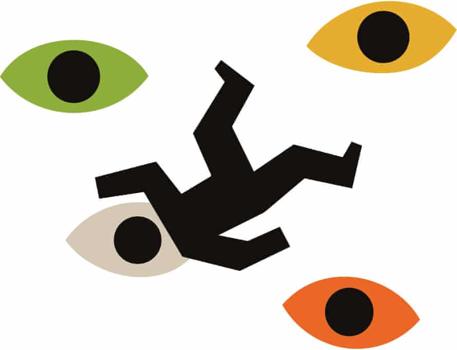 An illustration of a stick-figure man falling downwards, amid a series of eyes