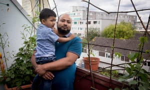Abdul Mukid, who has lived with his wife and child, Abdul, 3, for the past 8 years in a studio flat in Tangmere House, Broadwater Farm.