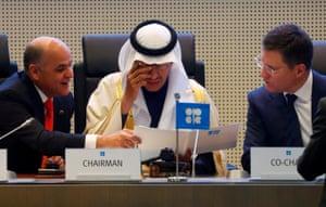 Oil Ministers Quevedo, Prince Abdulaziz bin Salman Al-Saud and Novak are seen at a meeting in Vienna, Austriaon December 6, 2019.
