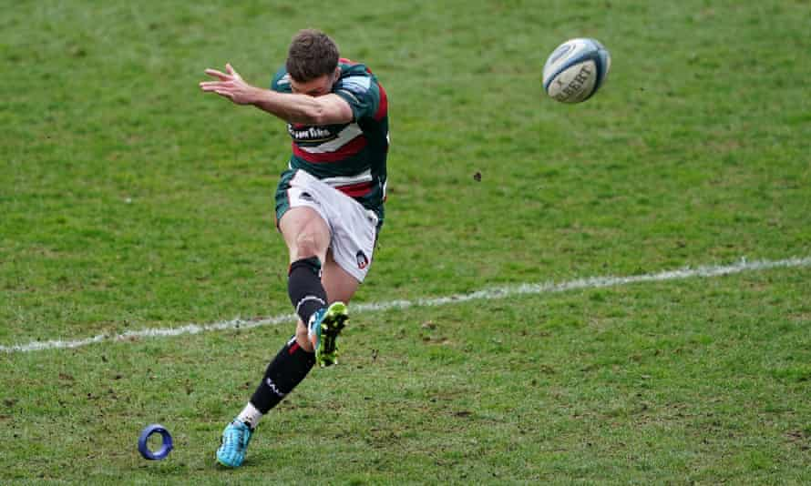 George Ford kicks a penalty for Leicester in their victory against Newcastle.
