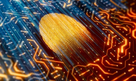 illuminated fingerprint on a digital motherboard
