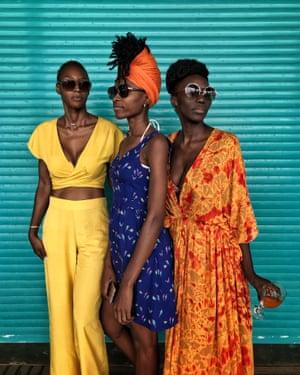 Adama Ndiaye with Virginia DaSylva and hairstylist Nabou Dieng, November 2018